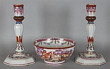 CHINESE EXPORT FAMILLE ROSE PORCELAIN CANDLESTICKS, 18TH C.