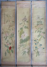 WU CHEN (CHINESE, 19TH - 20TH CENTURY) THREE FLORAL SCROLLS, 1921 Each 36 3/4 x 8 in. (sheet)