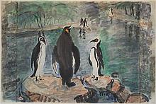 PAN YULIANG (CHINESE, 1895-1977) PENGUINS; TOGETHER WITH A NUDE, 1942 Watercolor on paper: 17 3/4 x 22 1/2 in. (sight) Nude: Ink on...