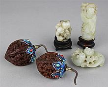 THREE CHINESE JADES AND A PAIR OF CARVED WALNUT SNUFF BOTTLES