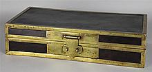 CHINESE BRASS-BOUND HARDWOOD DOCUMENT BOX WITH CALLIGRAPHIC INSCRIPTION, QING DYNASTY