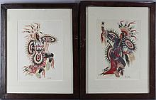 WOODY CRUMBO (AMERICAN, 1912-1989) SCALP DANCE and THE CROW DANCE Gouache on paper: 11 1/4 x 8 1/4 in. (sight)