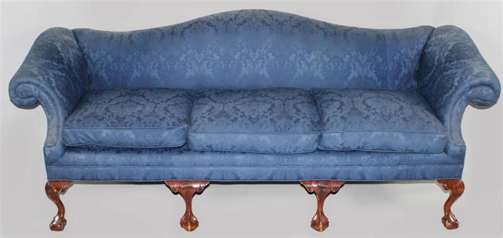 Brilliant Chippendale Style Mahogany Camelback Sofa In Navy Damask Machost Co Dining Chair Design Ideas Machostcouk