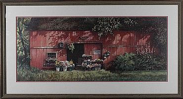 PAUL LANDRY (AMERICAN, 1933-) FLOWERS FOR SALE ALONG WITH HALIBUT COVE BY NITA ENGLE Print: 13 1/4 x 31 1/4 in. (sight)