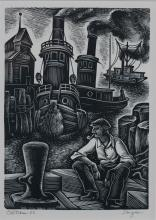 ISAAC SANGER (AMERICAN, 1899-1986) TUGBOATS Woodcut: 8 x 5 1/2 in. (sight)