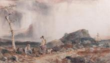 SAMUEL AUSTIN (BRITISH, 1796-1834) ON THE PASS OF NANT FFRANCON (N. WALES), 1825 Watercolor and graphite: 15 1/4 x 26 1/2 in. (sight...