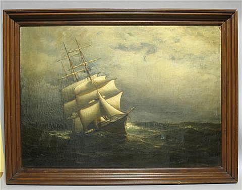 OTIS WEBER (AMERICAN, 19TH AND 20TH CENTURY) SHIP AT NIGHT Oil on canvas: 30 x 42 in.