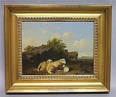 EDMUND TSCHAGGENY (BELGIUM, 1818-1873) LAMB AND GOAT RESTING Oil on panel: 8 3/4 x 11 3/4 in.