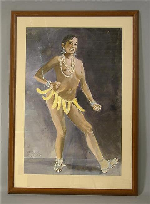 STAN KLIMLEY (AMERICAN, 20TH CENTURY) JOSEPHINE BAKER Watercolor on paper: 26 1/2 x 17 1/4 in. (sight)
