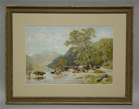 NATHANIEL EVERETT GREEN (BRITISH, c. 1833-1896) CATTLE AT THE RIVER BED - ULLSWATER Mixed media on paper: 12 x 18 in. (sight)