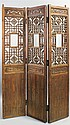 CHINESE PROVINCIAL SOFTWOOD THREE-PANEL SCREEN