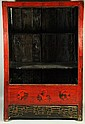 CHINESE RED AND BLACK LACQUER PROVINCIAL CABINET