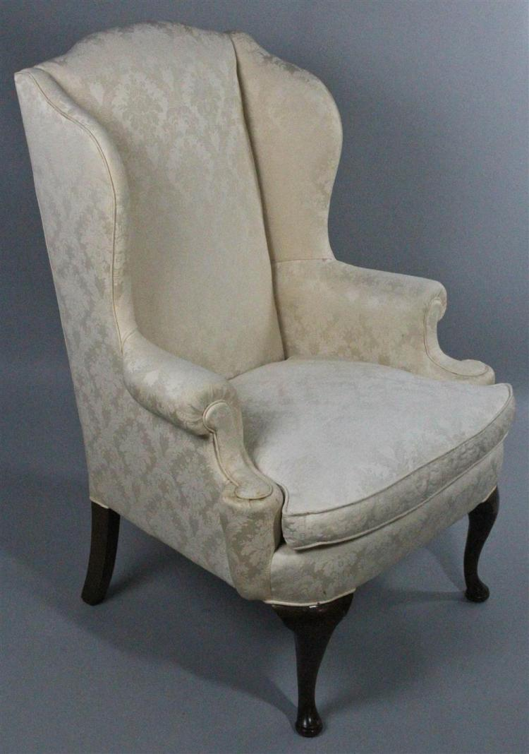 Queen Anne Style Upholstered Wing Chair