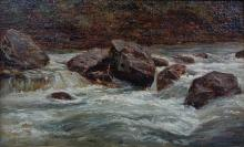 ANDRE GIROUX (FRENCH, 1801-1879) THE SWIFT CURRENT Oil on canvas: 10 1/2 x 13 3/4 in.