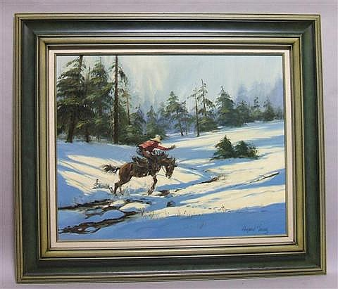 HARLAND YOUNG (AMERICAN, 1924-) COWBOY RIDING THROUGH THE SNOW Oil on canvas: 24 x 30 in.