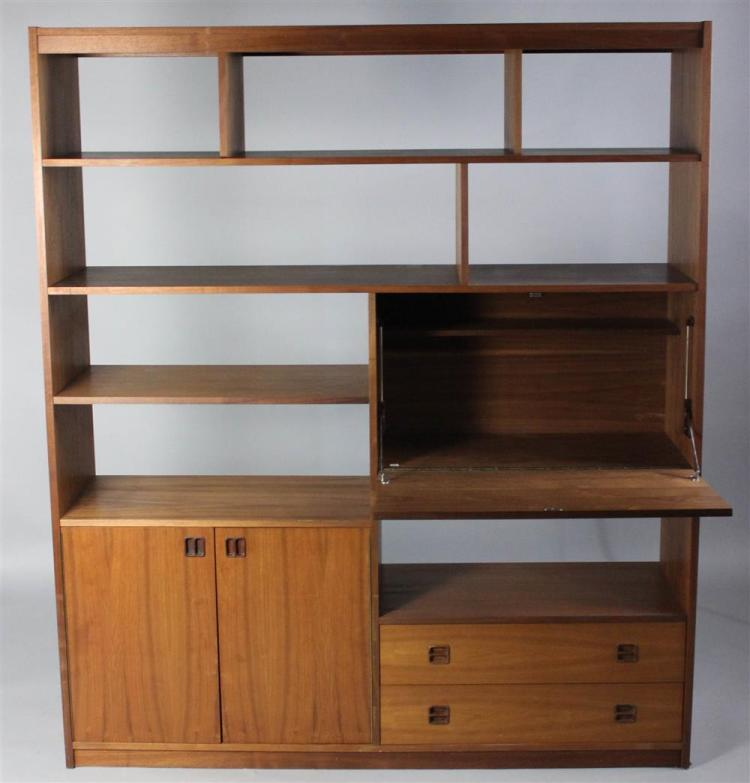 Mid Century Modern Teak Large Bookcase Room Divider With Dro