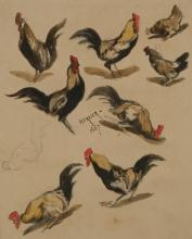 LOUIS ADOLPHE HERVIER (FRENCH, 1818-1879) STUDY OF ROOSTERS Watercolor and graphite on wove paper: 7 5/8 x 6 1/4 in.