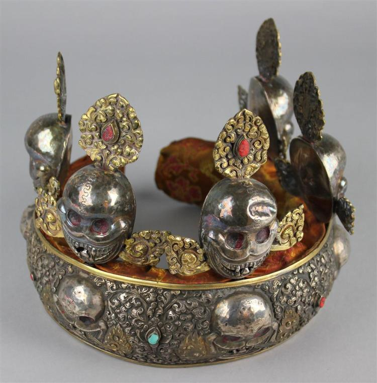 TIBETAN ORACLE CROWN, LATE 19TH/EARLY 20TH CENTURY