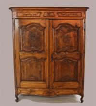 LOUIS XV STYLE CARVED WALNUT ARMOIRE