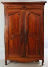 FRENCH PROVINCIAL LOUIS XV CARVED CHERRY ARMOIRE
