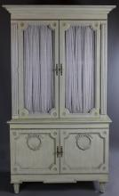 LEWIS MITTMAN LOUIS XVI STYLE PAINTED ARMOIRE, PICKLE FINISHED IN TWO PARTS