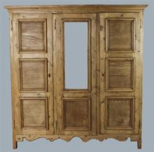 PROVINCIAL PINE PANELED AND MIRROED ARMOIRE