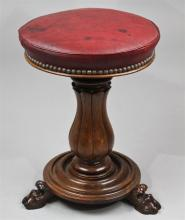 GEORGIAN STYLE NEEDLEPOINT FOOT STOOL AND A VICTORIAN ROSEWOOD AND LEATHER SWIVEL STOOL