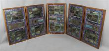 GROUP OF FIVE STAINED LEADED GLASS PANELS