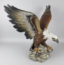CAPODIMONTE POLYCHROME BISQUE FIGURE OF AN EAGLE