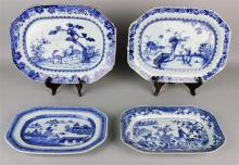 FOUR CHINESE EXPORT BLUE AND WHITE RECTANGULAR PLATTERS, QING DYNASTY (18TH CENTURY)