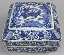 CHINESE UNDERGLAZE BLUE AND WHITE SQUARE BOX, WANLI 6-CHARACTER MARK IN UNDERGLAZE BLUE