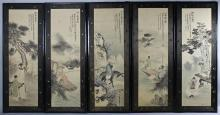 POSSIBLY KOREAN IN CHINESE STYLE (QIANG DYNASTY AND LATER) TEN PANELS OF SCHOLARS IN A LANDSCAPE Ink and color: 43 x 13 1/4 in. (eac...