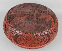 CHINESE CARVED CIRCULAR CINNABAR BOX AND COVER