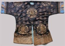 TWO CHINESE SILK AND GOLD COUCHED THREAD-EMBROIDERED SILK ROBES, QING DYNASTY