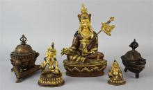 GROUP OF FIVE SINO-TIBETAN PARCEL-GILT, COPPER AND BRONZE ITEMS, VARIOUS DATES