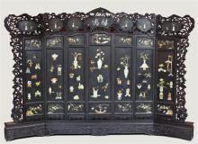 CHINESE MASSIVE INLAID SEVEN-PANEL ZITAN SCREEN, QING DYNASTY/REPUBLIC PERIOD