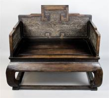 LARGE HARDWOOD THRONE CHAIR, BAOZUO, LATE QING DYNASTY (19TH/ 20TH CENTURY)