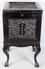 CHINESE CARVED EBONIZED WOOD CHEST ON STAND