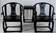 PAIR OF CHINESE STAINED HARDWOOD YOKEBACK ARM CHAIRS AND A STAND