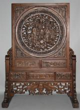 CHINESE LARGE CARVED WOOD SCREEN ON STAND