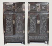 PAIR OF LARGE CHINESE CARVED STAINED HARDWOOD HAT CABINETS