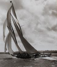 BEKEN OF COWES & SONS (BRITISH, 1888-) WHITE HEATHER- 1924, VELSHEDA, YANKEE-1935 and RAINBOW II- 1898 Sepia photographs: 23 x 19 1/...