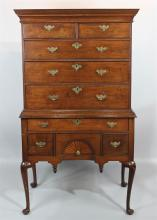 NEW ENGLAND QUEEN ANNE INLAID WALNUT HIGHBOY, 18TH CENTURY