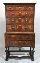 WILLIAM AND MARY INLAID WALNUT HIGHBOY