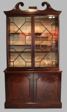 GEORGE III CARVED MAHOGANY BOOKCASE CABINET
