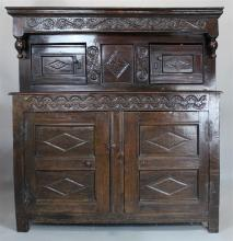 JACOBEAN CARVED ENGLISH OAK COURT CABINET