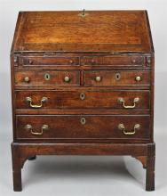 ENGLISH OAK FALL FRONT DESK ON STAND, 18TH CENTURY