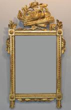 CONTINENTAL NEOCLASSICAL CARVED GILTWOOD MIRROR