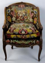 LOUIS XV STYLE BERGERE EN CABRIOLET ARM CHAIR, NEEDLEPOINT AND BLACK VELVET