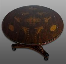 CONTINENTAL WALNUT MARQUETRY CENTER TABLE